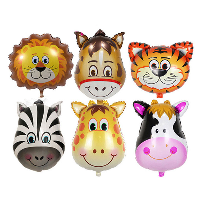 3Pcs/Lot Cute Cartoon Animal Head Aluminum Balloon Holiday Dress Up Lights Balloon Birthday Party Hat Toy