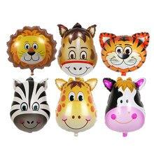 3шт/lot милый мультфильм головой животного алюминиевый воздушный шар праздник одеваются фонари воздушный шар день рождения игрушки шляпа