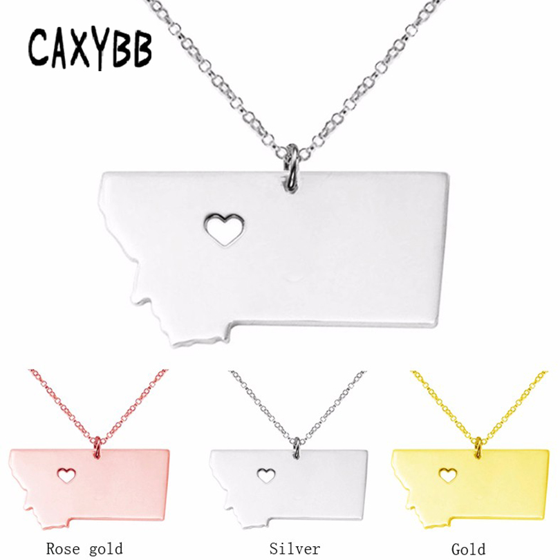 Caxybb Montana state map Stainless Steel Pendant necklace Necklaces bijouterie accessories jewelry statement necklace women