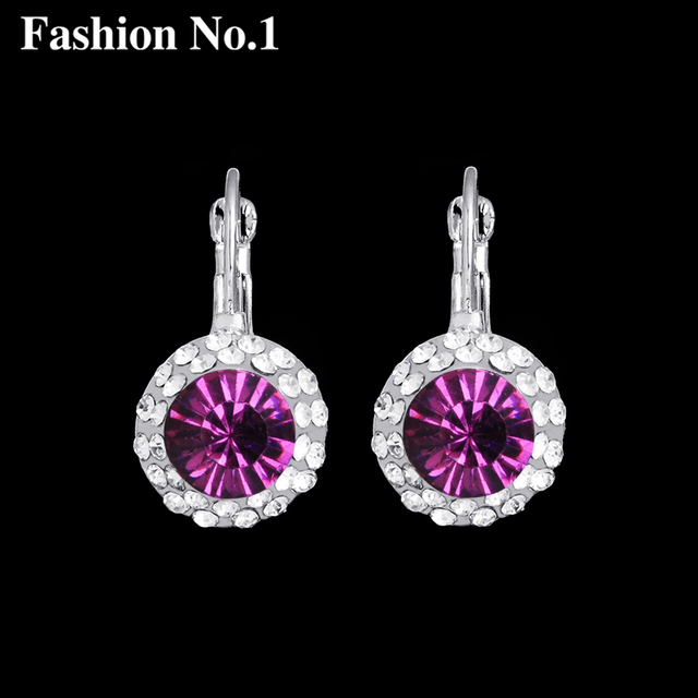 2018 New Fashion Women Round Crystal Hoop Earrings Wedding Party Silver Color Rhinestones Costume Jewelry