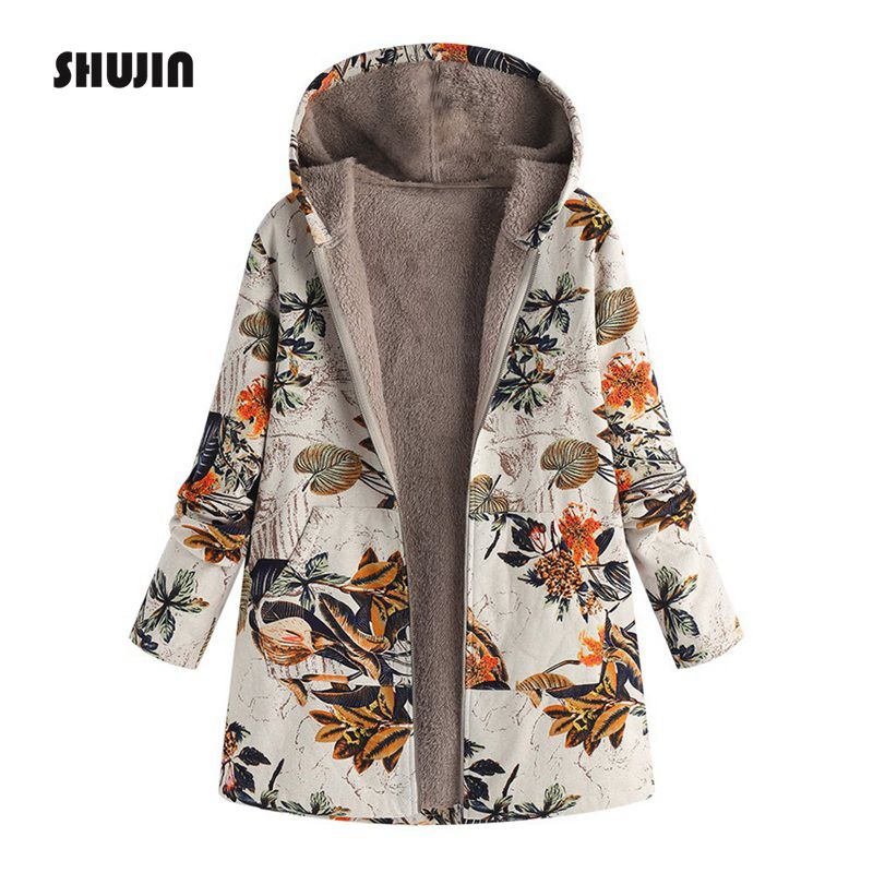 SHUJIN 2018 Plus Size Women Long   Parkas   Coats Vintage Floral Print Thick Fleece Jacket Winter Female Hooded Warm Outerwear