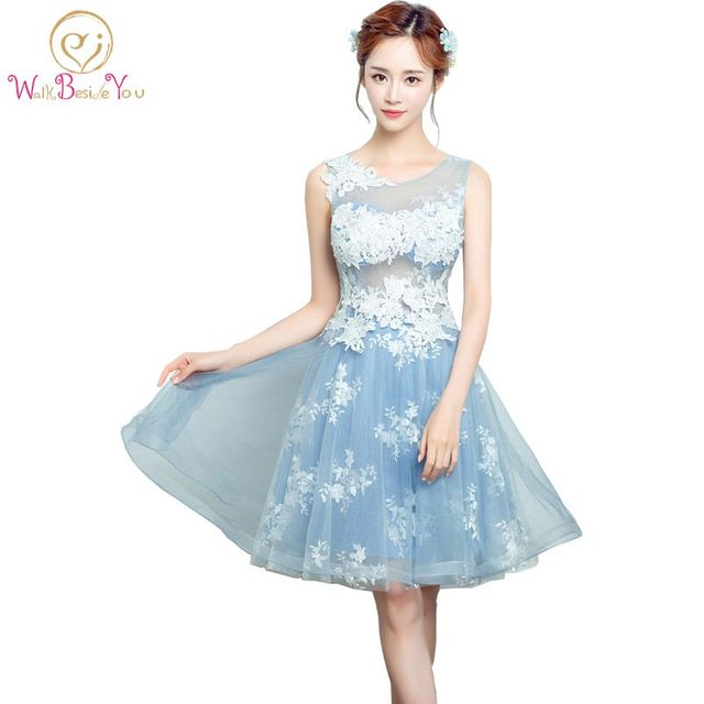 100% Real Images Modest Prom Dress Blue Short Prom Dresses 2017 O ...
