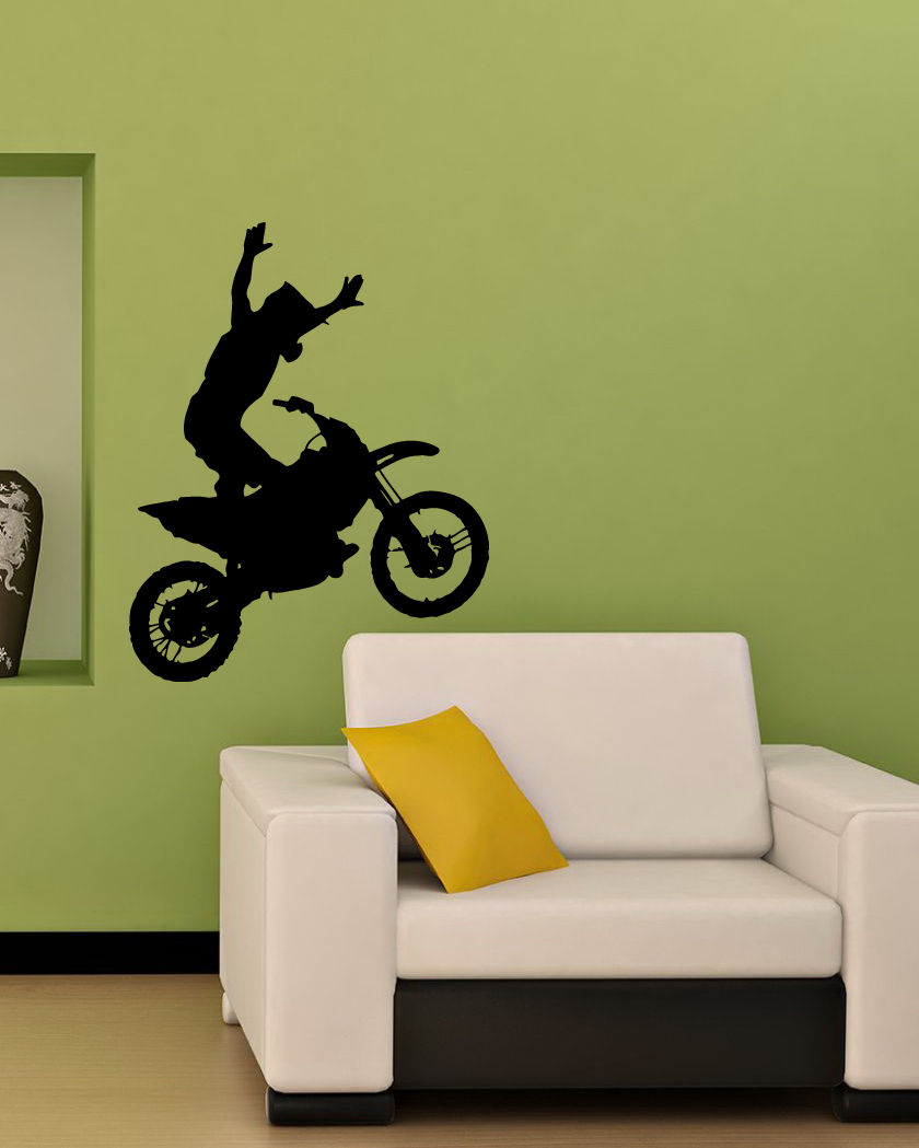D386 WALL VINYL <font><b>STICKER</b></font> DECALS <font><b>ART</b></font> <font><b>MURAL</b></font> BIKE CHOPPER MOTORCYCLE STUNT RACING <font><b>Mural</b></font> Motorcycle Poster Living Room <font><b>Home</b></font> Decor