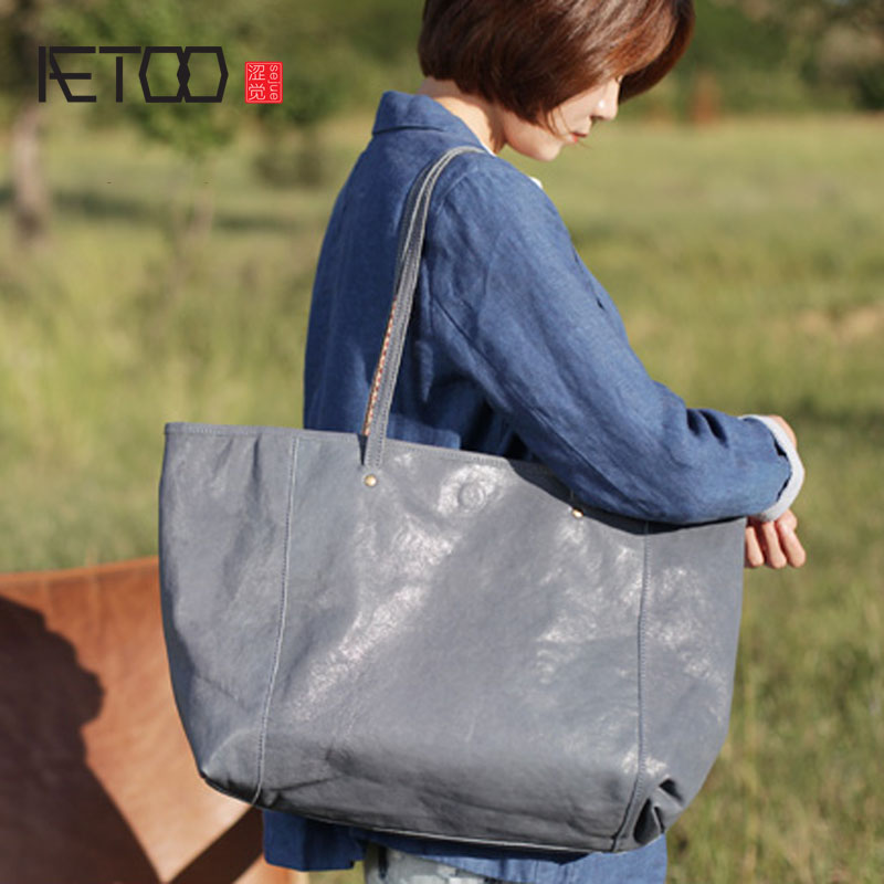 цены AETOO Retro blue large capacity commuter tote bag female handbag leather shoulder bag new soft sheepskin big bag