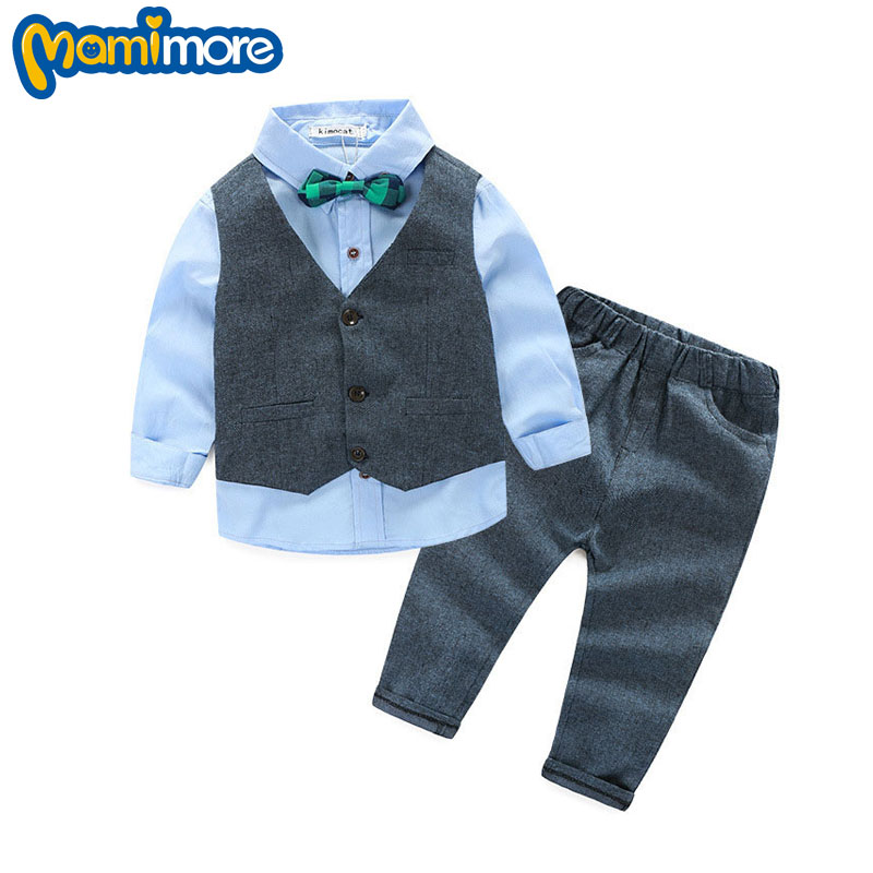 Bow Baby Boys Gentleman Clothes Suit 2016 New British Style Three-piece Suit Toddler Boys Clothing Kids Clothes Outfits