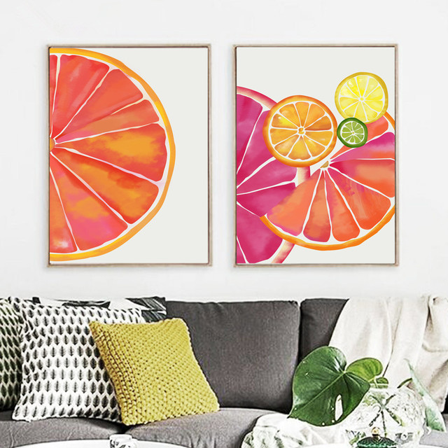Watercolor Orange Wall Art Canvas Painting