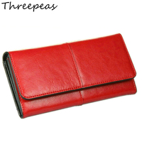 THREEPEASคลัทช์กระเป๋าสตางค์ผู้หญิง100%หนังวัวแท้กระเป๋าสตางค์แฟชั่นเย็บปะติดปะต่อกัน