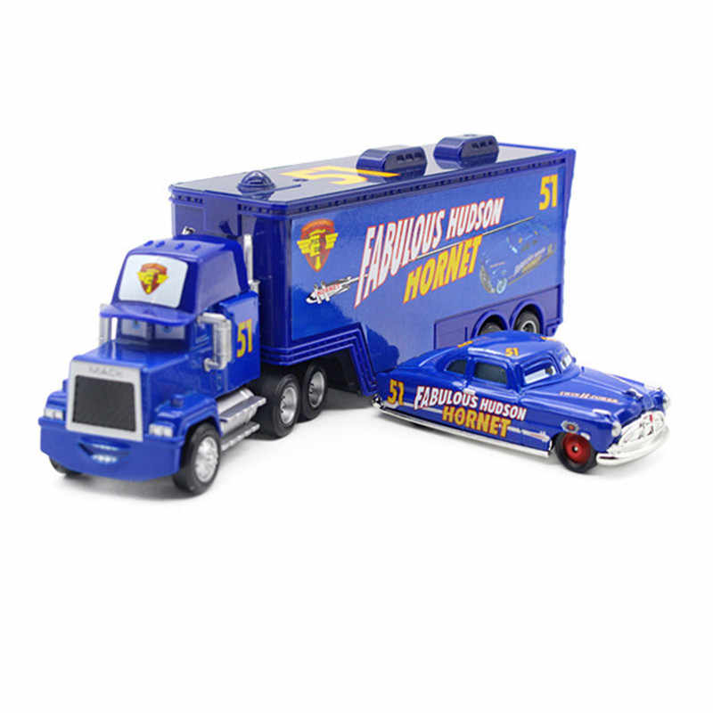 Disney Pixar Cars 2 Mainan Lightning McQueen Truk Mack Raja 1:55 Diecast Metal Alloy Modle Angka Mainan Hadiah untuk anak-anak
