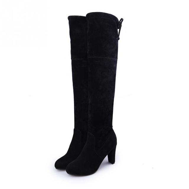 MCCKLE Plus Size Fashion Female Winter Thigh High Boots Faux Suede Leather High Heels Women Over The Knee Shoes Drop shipping 2