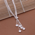 925 Heart Pendant Long Necklace Elegant Silver Jewelry For Ladies Mulit Chain Necklace Wedding Evening Party AN438