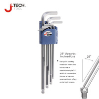 Jetech Long Arm 83mm 235mm Ball End Hex Key Set 9 Pieces Inch Scale Chrome Coating