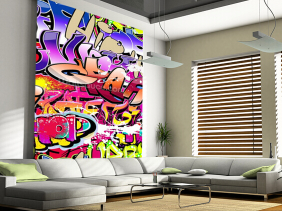 Custom papel de parede 3 d hip hop purple graffiti wallpaper for walls 3d for children room Painting graffiti on bedroom walls