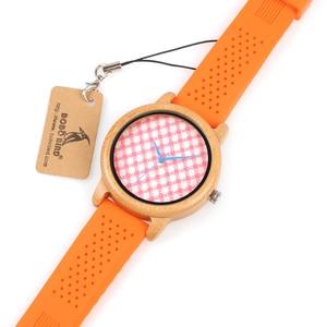 Image 5 - בובו ציפור Wb03 ורוד משובץ חיוג צלחת עץ שעונים עם חי כתום סיליקון ג לי חגורת קוורץ שעון לנשים