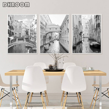 Nordic Architecture Landscape Canvas Painting Venice Poster Print Black and White Photography Wall Art Picture Home Art Decor