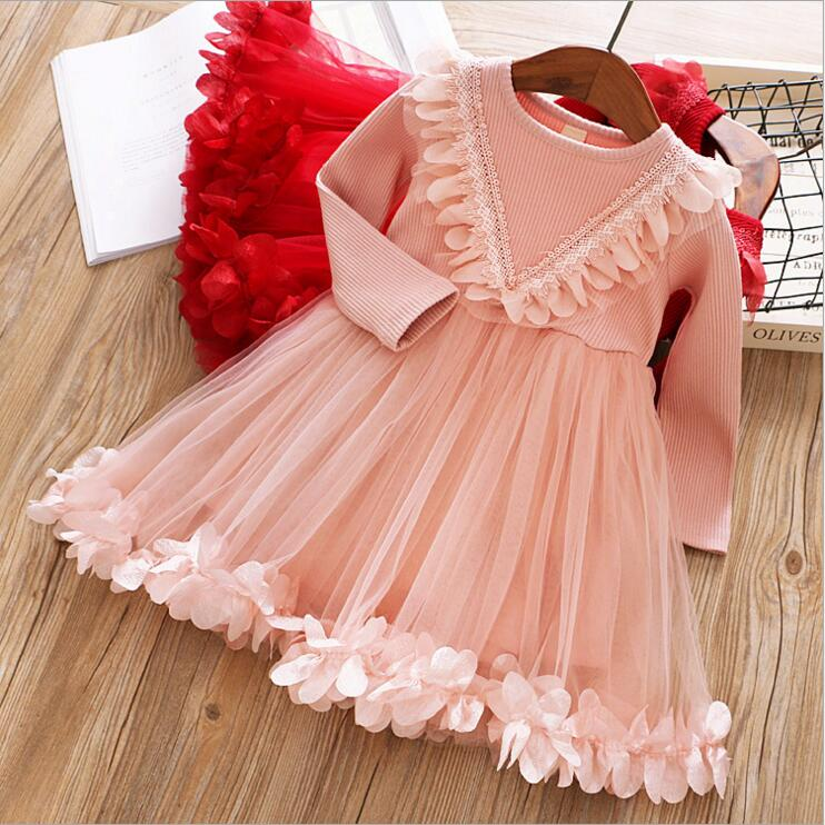 V-neck children girl petals long sleeve tulle dress toddler kids girls clothes princess flowers fall dress цены