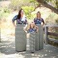 Túnica vestidos de fiesta dress otoño 2016 estilo caliente de moda en europa y la manga larga impreso raya entre padres e hijos traje de niño