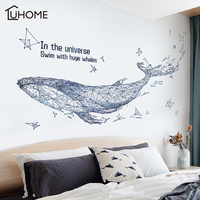 Абстрактный геометрический КИТ 3D Звездное небо большая рыба Наклейка на стену s мебель для гостиной украшение стены наклейка домашний деко...
