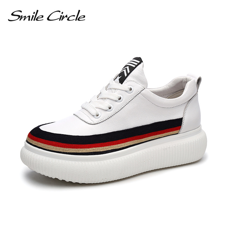 Smile Circle 2018 Spring Suede Leather Sneakers Women Fashion Mixed Colors Lace-up Flat Platform Shoes Girl Casual Shoes beffery 2018 british style patent leather flat shoes fashion thick bottom platform shoes for women lace up casual shoes a18a309