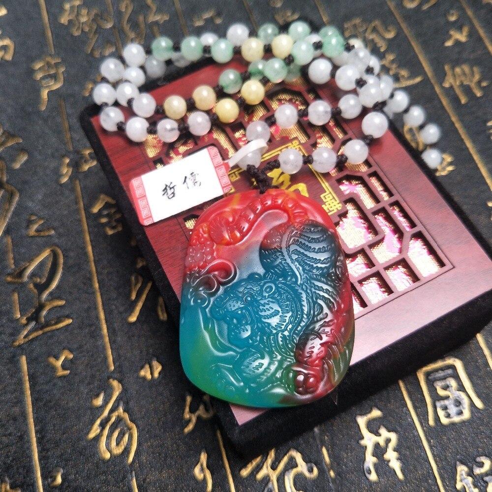Envoyer Un-niveau national certificat Naturel coloré jade sculpture multi-couleur tigre pendentif Trois-couleur jade pendentif chaîne