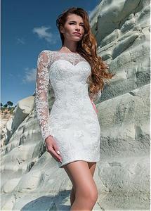 Image 4 - פנטסטי טול & תחרת Bateau מחשוף 2 ב 1 חתונה שמלת תחרה אפליקציות ארוך שרוול כלה שמלה עם נשלף חצאית