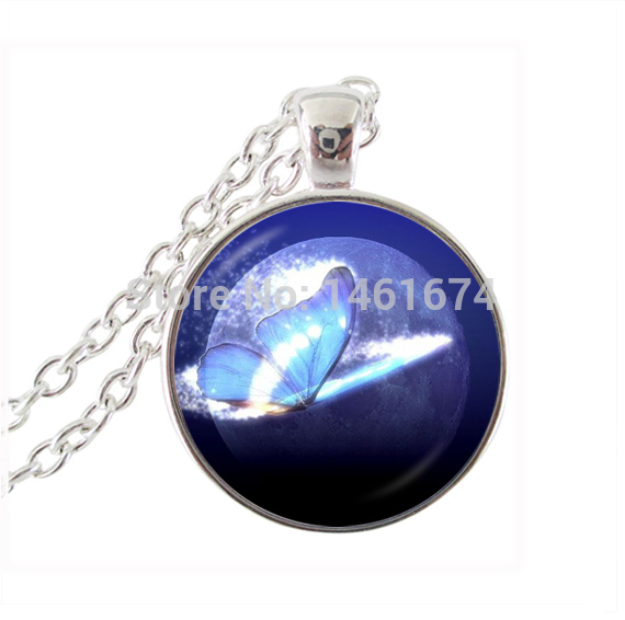 Glowing butterfly jewellery animal pendant dome necklace silver chain necklace moon pendant galaxy universe jewelry for gifts