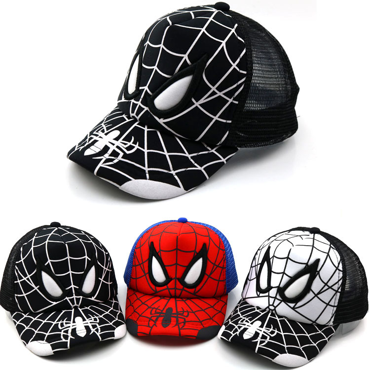 2019 Baby hats Spider-Man Net   Cap   Children Summer New   Baseball     Cap   Korean Trend Cartoon Duck Tongue Breathable Sun Hat Snapback