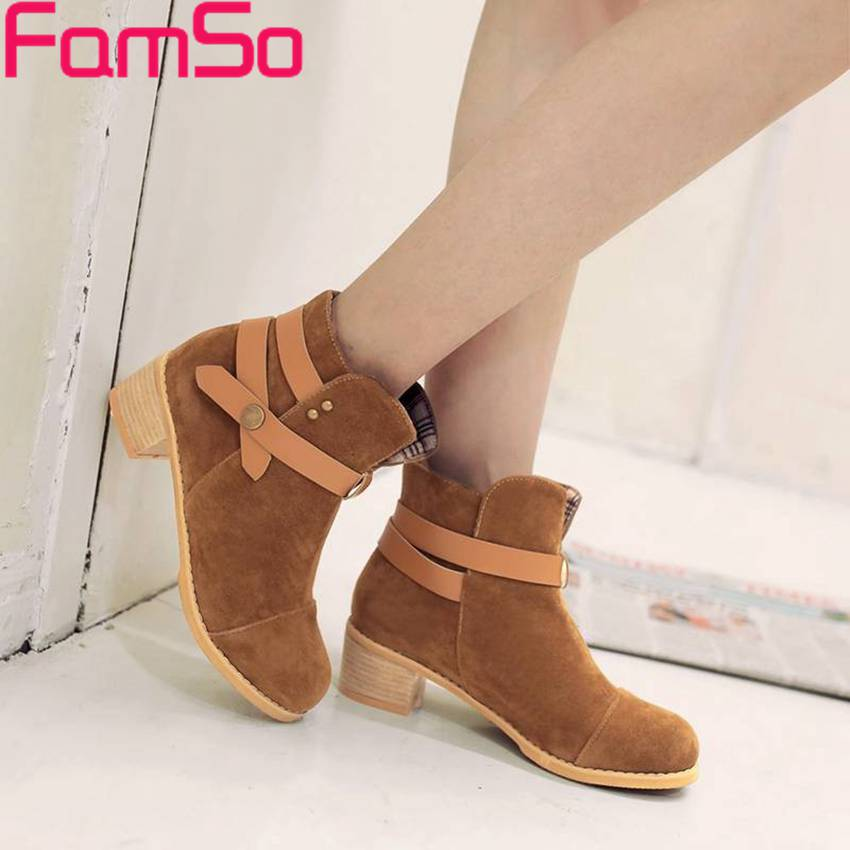 Plus Size34 43 2016 new Fashion font b Women b font Autumn Martin Boots Buckle Round