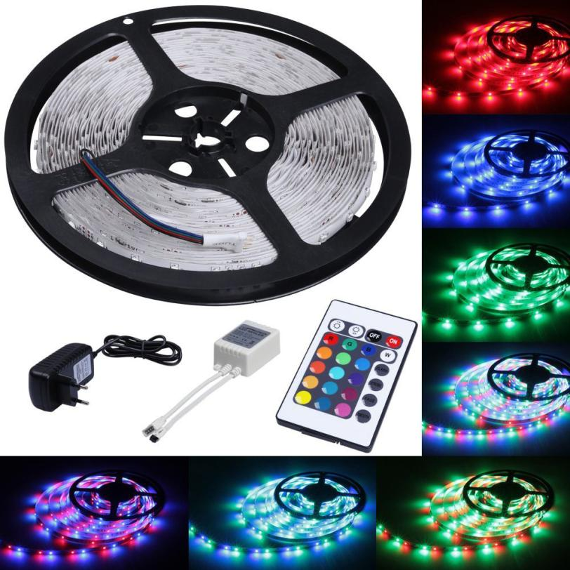2017 NEW  5M RGB Led strip Light 3528 SMD 300leds Waterproof Remote Controller 12V Adapter O11