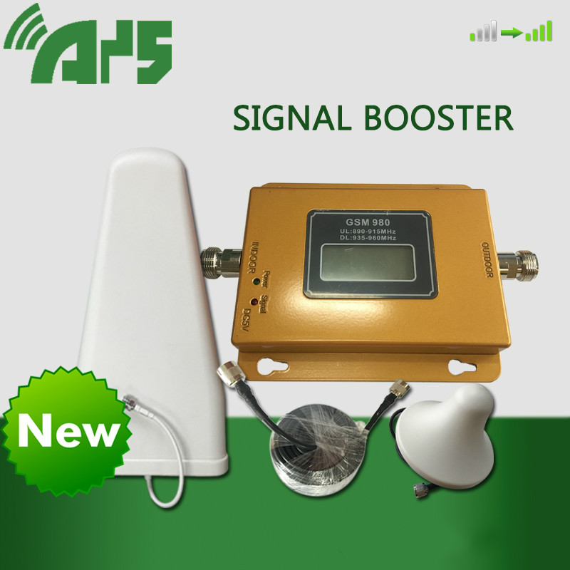 LCD GSM 980 MHz Wireless Mobile Phone Repeater Signal Booster Cell Phone Signal Booster Amplifier + Indoor Outdoor Antenna