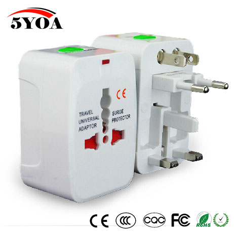 1pc  All In One Plug Power Adapter Dual USB Universal Wall Charger Socket Travel