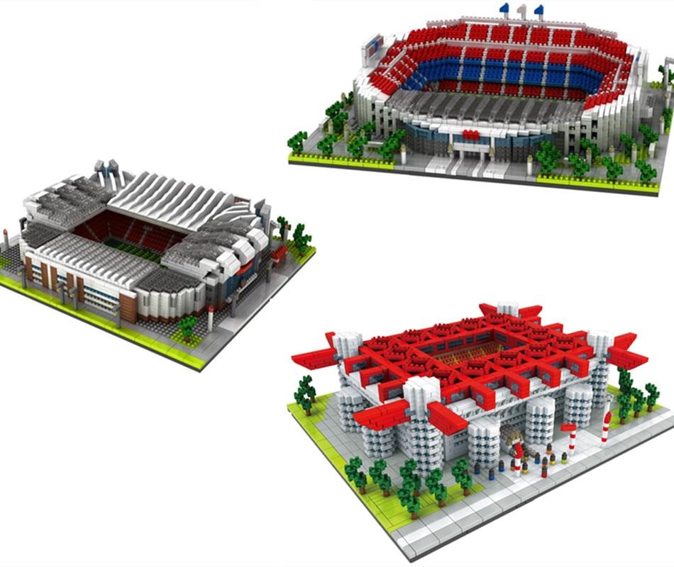 28cm Diamond Camp Nou Old Trafford Football Field Model Building Blocks Challenge architecture Kids DIY Toy