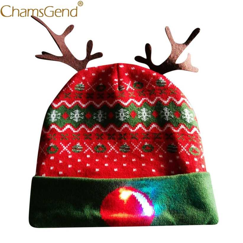 Newly Design Women Led Light Hat Winter Warm Knitted Elk Hats Skullies  Beanies For Christmas Xmas f2f8f1c0d73e
