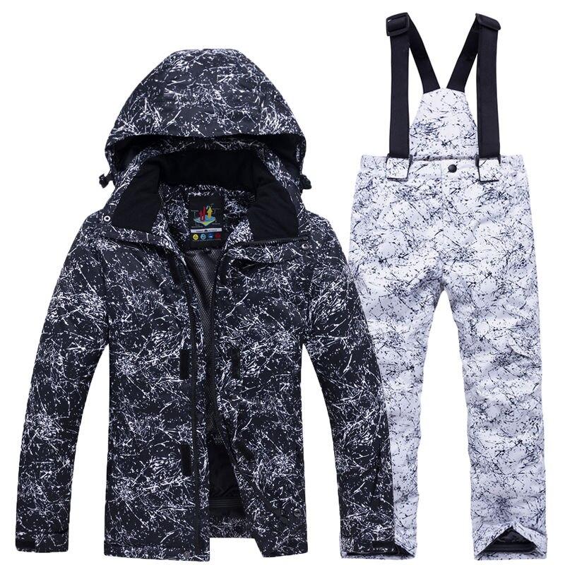 Costume de neige pour enfants garçon ou fille ensembles de snowboard tenue de sport en plein air imperméable manteau de Ski et sangle pantalon de neige Costume pour enfants - 4