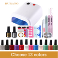 New Arrival Soak-off Gel polish Top & Base Coat gel nails polish kit 36w white lamp 12 colors art tools kits sets manicure set