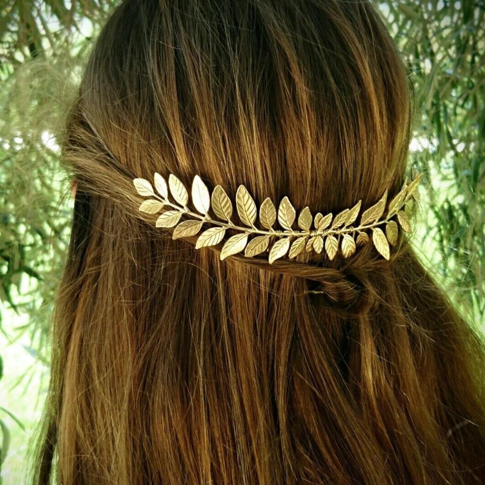 Hair Chain Garland Comb Barrette Clip Boho Golden Gold Leaf Wedding Prom Girl