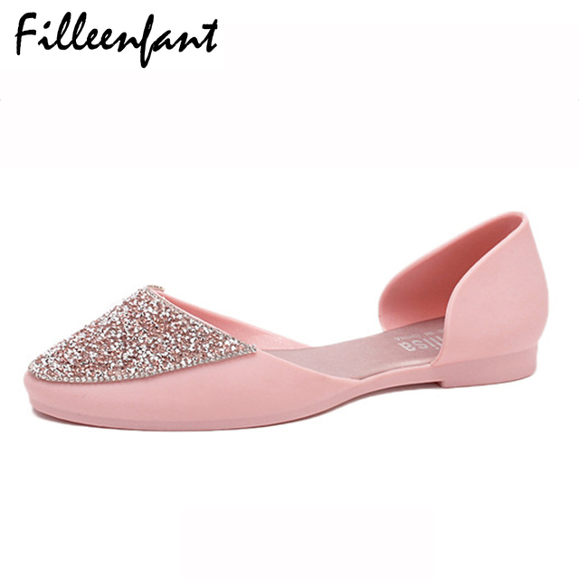 511d9afff Ladies Sandals Flat Rhinestone Women Crystal Shoes Summer Fashion Jelly  Sandals Beach Jelly Shoes Woman Casual Beach Slippers