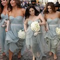 Sexy Sweetheart Gray Bridesmaid Dresses With Beaded Sash Long Tulle Beautiful Bridesmaid Dress Pleat Pretty Bridesmaid Gowns
