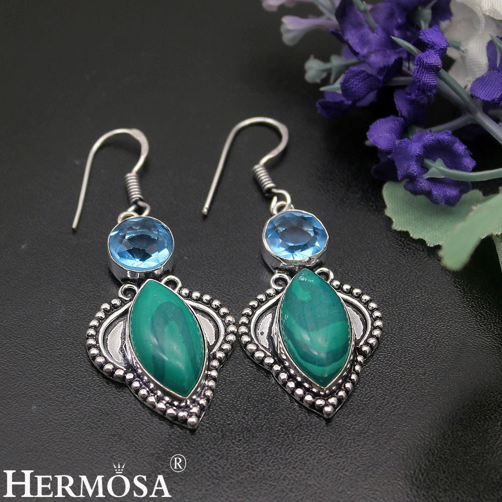 Charm Fashion HERMOSA Jewelery MALACHITE925 Sterling Silver Lady Earrings Promotions 55cm HM793 Free Shipping