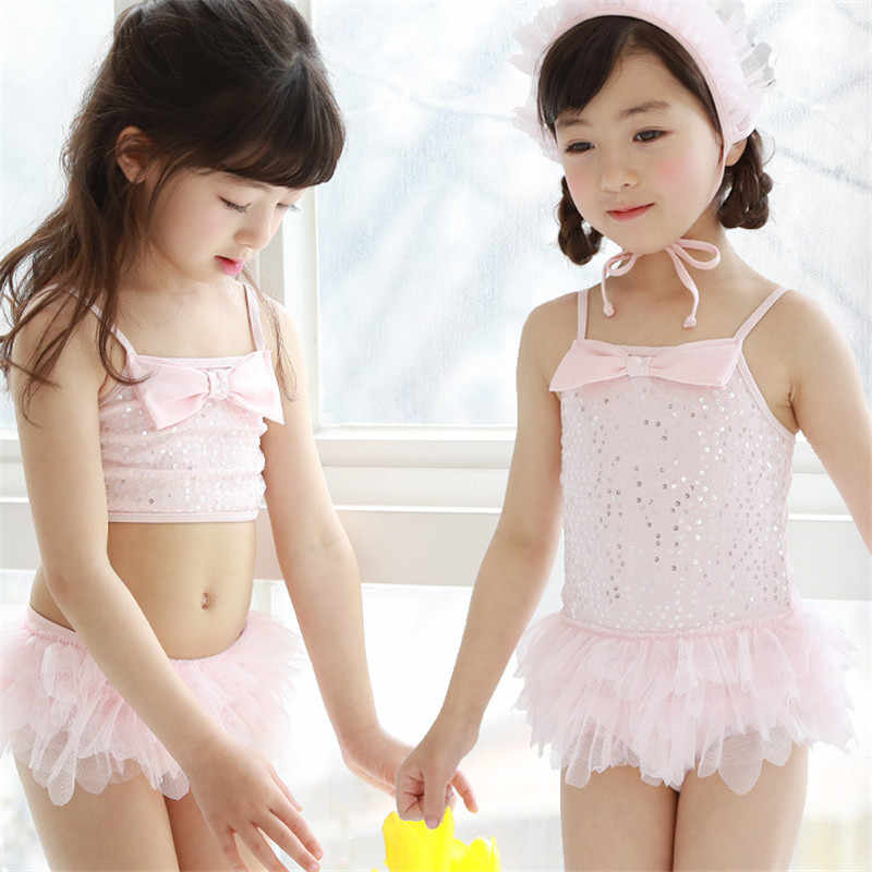 4c6d2a23c7 ... 2019 New South Korean children bathing suit for kids girls swimsuit  lace skirt baby conjoined pink ...