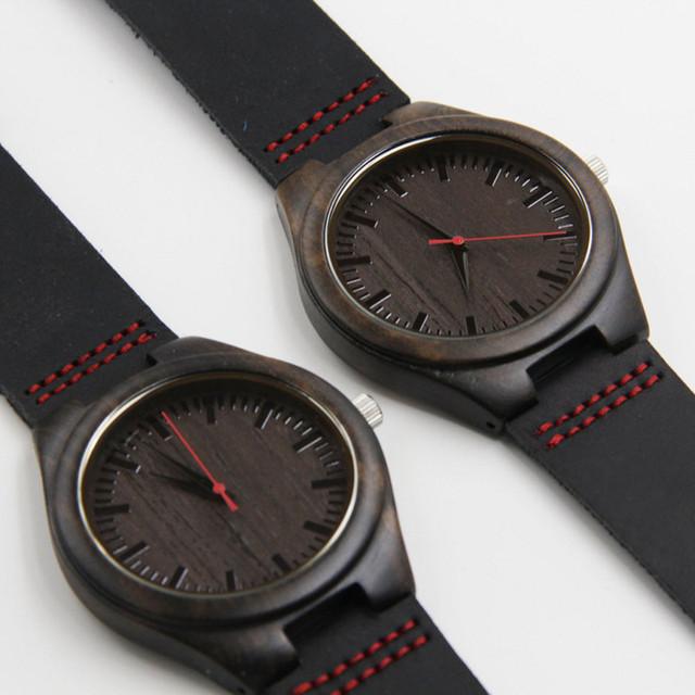Regalos de Moda Reloj de pulsera de Cuarzo japonés De Madera Negro Relojes Para Hombres y Mujeres Con Correas De Cuero Genuino