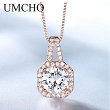 UMCHO Solid 925 Sterling Silver Pendants Necklaces For Women Elegant Fashion Wedding Anniversary Rose Gold Color Fine Jewelry(China)