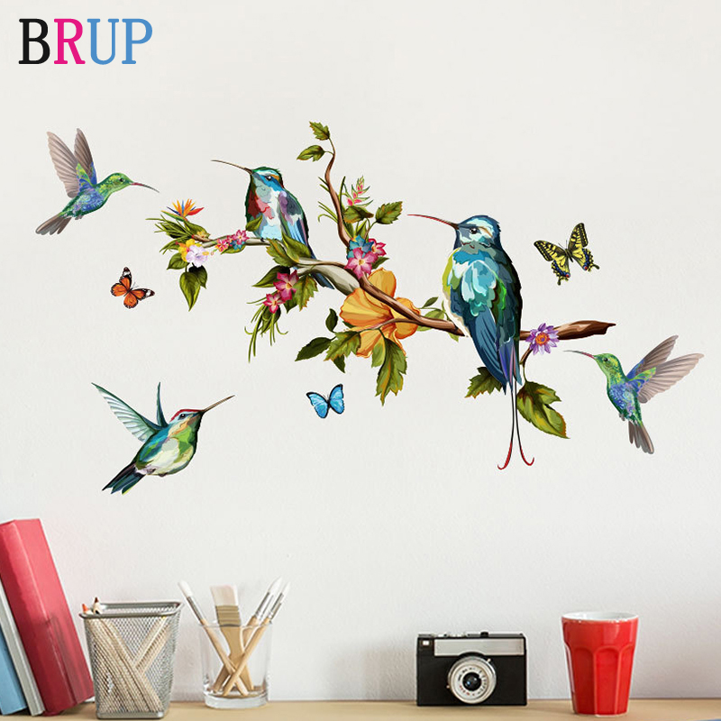 Cartoon Hand Painted Parrot Bird Wall Stickers for Kids Room Living Room Wall Decal Baby Nursery Murals Home Decorations Decor