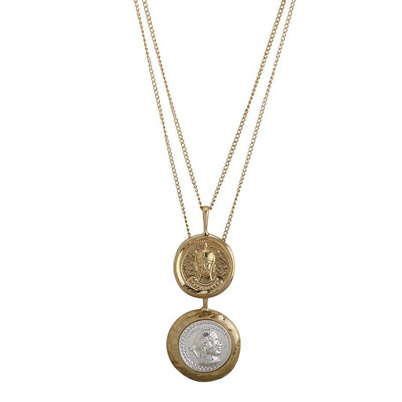 SRCOI Retro Gold Color Portrait Coin Necklace Pendant Minimalist Coin Disc Layer