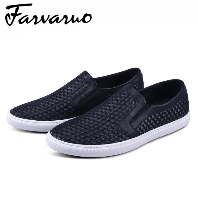 Farvarwo Korean Stylish Moccasins Men Genuine Leather Woven Pattern Summer Breathable Casual Loafers Man Street Fashion Footwear