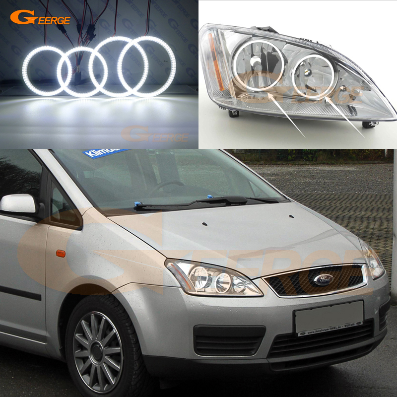 цена For Ford Focus C-Max 2003 2004 2005 2006 2007 Halogen headlight Excellent Ultra bright smd led Angel Eyes kit DRL