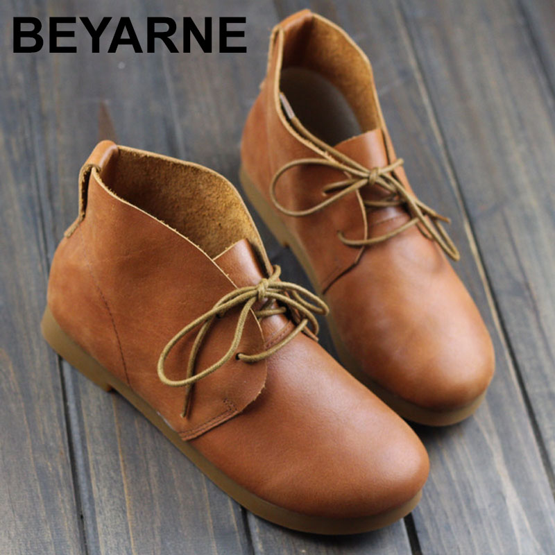BEYARNE  Woman Boots Plain Toe Lace up Ankle Boots for Women 100% Authentic Leather Ladies Boots Female Footwear ladies casual lace up flat ankle boots fashion round toe plain cow leather boots for women female genuine leather autumn boots