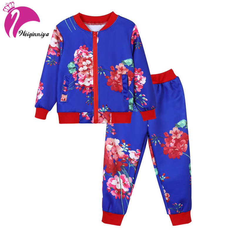 Girl Set Casual Kid Set Fashion Kid Floral Girls Suit 2 PCs Tops+Pants Tracksuit For Girl Toddler Girls Cotton Suit Kids Clothes 2017 cotton toddler kids girls clothes sleeveless floral romper baby girl rompers playsuit one pieces outfit kids tracksuit