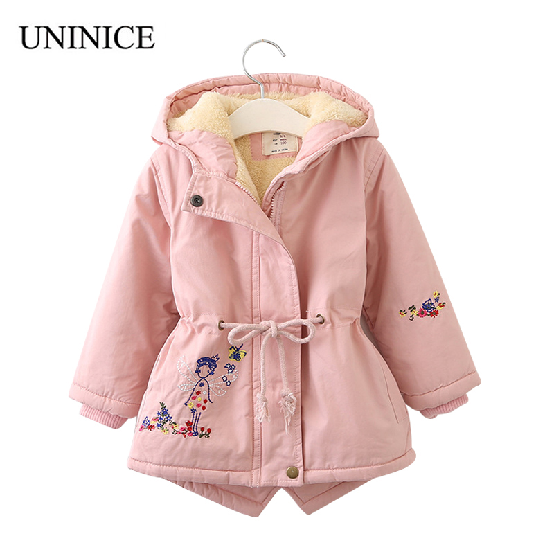 UNINICE coats and jackets for girls autumn winter Korean embroidery fur hooded coat thick cotton warmer kids winter outerwears