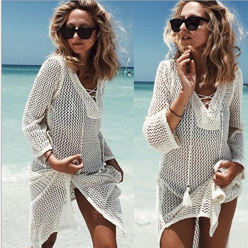 NAIDEY Sexy Summer Beach Dress Tunic Women 2019 Crochet Knitted Bikini Cover Up Beach Wear Deep-V neck Swimsuit Cover-Ups Loose