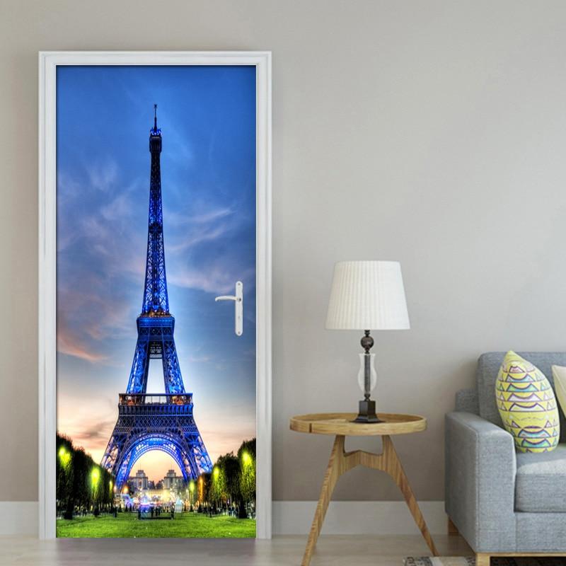 Modern 3D Night Sky Paris Eiffel Tower Wallpaper Living ...  Modern 3D Night...